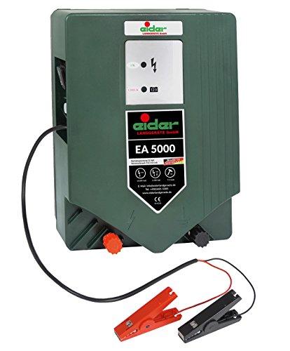 Eider 12 Volt / 230 Volt Joule Made in Germany Weidezaungerät EA 5000 Premium-Line 12/230 V Hybridgerät-Wahnsinnige 7,40 J-Für Lange Zaunanlagen, 12 V, 10.000 V, Grün