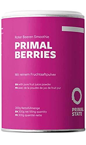 Beeren Smoothie Pulver | Primal Berries | Aktivierend - Antioxidantien und Energie aus Beeren & tonischen Wurzeln | Vegan mit Heidelbeere, Himbeeren, Ginseng, Grüner Tee Extrakt | 300g - 30 Portionen