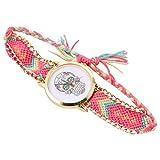ABOOFAN 1 Pieza de Correa de Reloj Trenzada para Mujer Tejido de Estilo Étnico Reloj de Pulsera Reloj de Halloween para Cumpleaños de Fiesta de Halloween (Rosa)