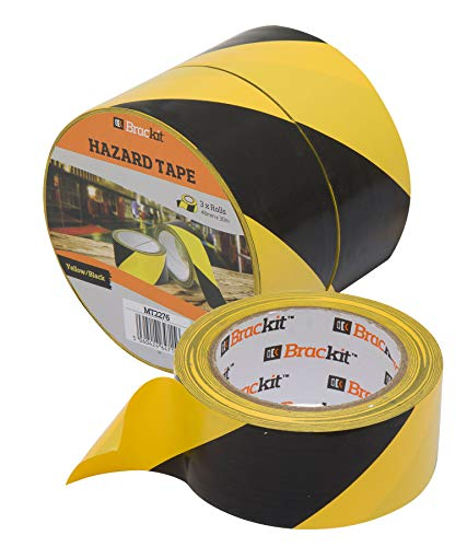 Yellow and Black Hazard Warning and Safety Marking Brackit CautionAdhesive Tape48mm x 30m,Pack of 3 Rolls