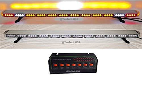 YanTech USA 60' Amber Clear Super Bright LED Light Bar 102 LEDs Flashing Warning Tow Truck Wrecker Police Snow Plow with Cargo Lights and Brake or Turn Signal Lights