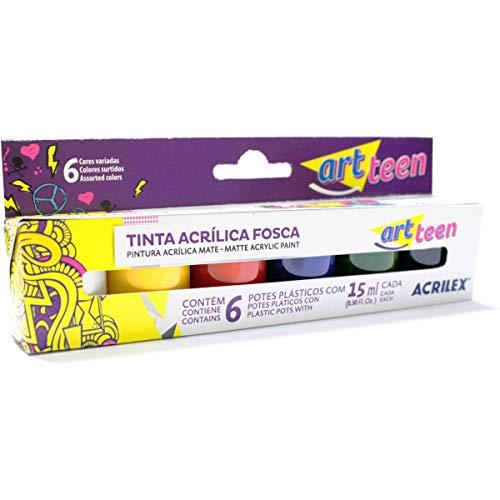 Tinta Acrílica Fosca 15ml, Acrilex, Art Teen, 035060000, Pacote com 3 Estojos x 6 Cores cada