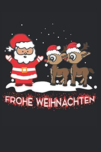 Frohe Weihnachten: Weihnachtsmann mit Rentier Helfer - A5 Notizbuch 120 karierte Seiten -Thematisches Weihnachtsjournal, Weihnachtsorganisator Planer, ... Party Planer, Adventsplaner zum Schreiben.