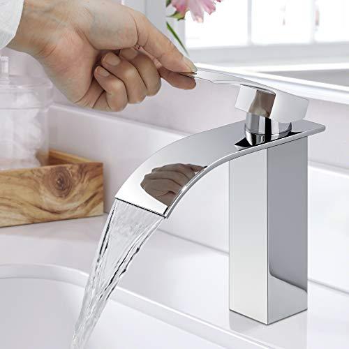 WOOHSE Wasserfall Wasserhahn Bad, Einhand-Waschtischbatterie, Waschtischarmatur, Mischbatterie Armatur, Waschtischmischer, Messing Verchromt Wasserhähne, Waschtisch, Waschbecken Badezimmer