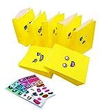 JZK 25 x Bolsas de Regalo Papel Amarillo con Divertidos emoticonos Pegatinas para Fiesta cumpleaños de los niños Detalles Comida Aperitivos Pan Bolsas Dulces