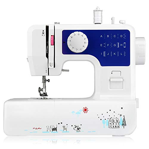 AODD Sewing Machine, Household Portable Electric Sewing Machine Portable Mini with 12 Different Stitches, Fabric Sewing, DIY, Easy Operation, Durable, for Fabric, Clothing, Home Travel (Blue)