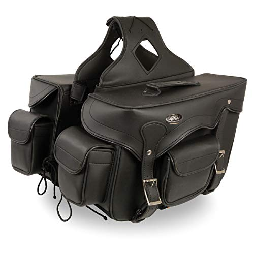Milwaukee Leather SH66602 Zip-Off Double Pocket Studded PVC Throw Over Saddlebags with Reflective Piping - One Size