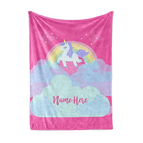 "Personalized Magical Rainbow Unicorn Blanket for Kids, Teens, Girls, Women, Baby, Adult - Cute Pink Mink Fleece Plush Sherpa Throw Blankets Perfect as Cozy Comfy Presents (50"" x 60"" - Child)"