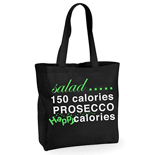 Einkaufstasche, Salat, Prosecco, Kalorien, wiederverwendbar, Schwarz