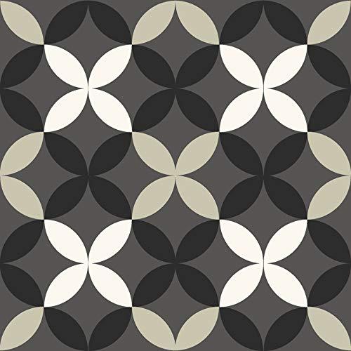FloorPops FP3367 Arbor Peel & Stick Floor Tile, Black