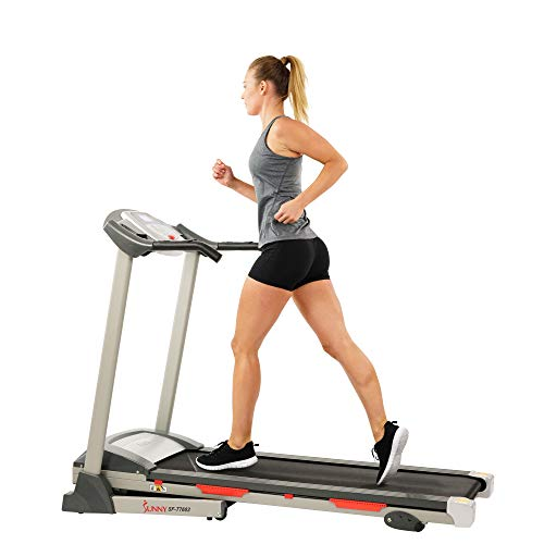 Sunny Health & Fitness Exercise Treadmill, Motorized Running Machine for Home with Folding, Easy Assembly, Sturdy, Portable and Space Saving - SF-T7603, Grey