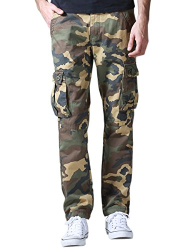 Match Men's Casual Wild Cargo Pants Outdoors Work Wear (Khaki max, L/32)