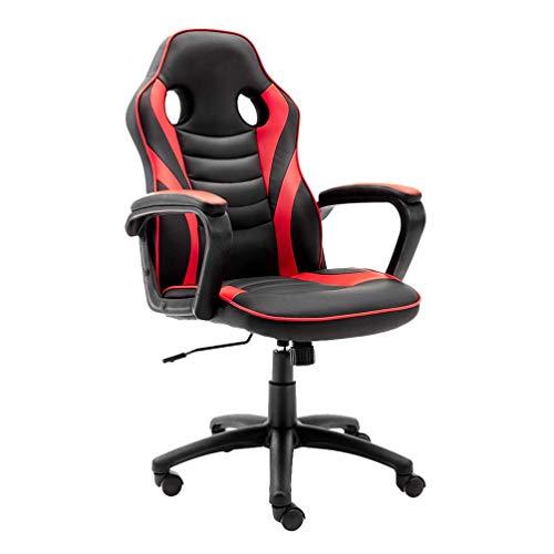 BESPORTBLE Cadeira de jogos - Cadeira de computador de corrida ergonômica reclinável de couro - Cadeira de mesa executiva giratória ajustável - E- Cadeira esportiva de videogame com suporte lombar (vermelha)