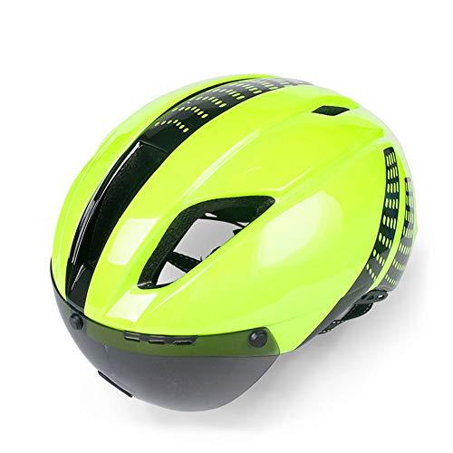 HUACAGN Fahrradhelm Einstellbar Optimiert Für Männer Und Frauen Fahrradhelm Mit Brille (Farbe : Grün)