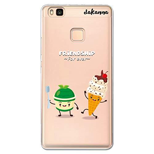 dakanna Funda Compatible con [Huawei P9 Lite] de Silicona Flexible, Dibujo Diseño [Helado Amigos Friendship Forever], Color [Fondo Transparente] Carcasa Case Cover de Gel TPU para Smartphone