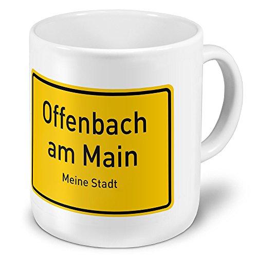 XXL Jumbo-Städtetasse Offenbach am Main - XXL Jumbotasse mit Design Ortsschild - Städte-Tasse, Städte-Krug, Becher, Mug