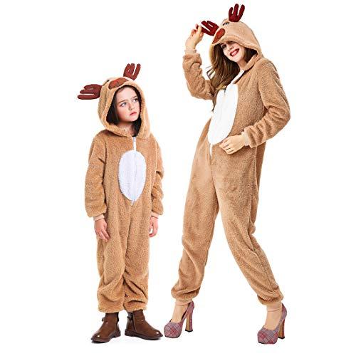 MainCustom Maglione di Costume di Renna con Cappuccio di Natale per Bambini/Adulti, Costume di Babbo Natale Tuta per aiutante di Babbo Natale Abito di Natale Abito da Rudolph