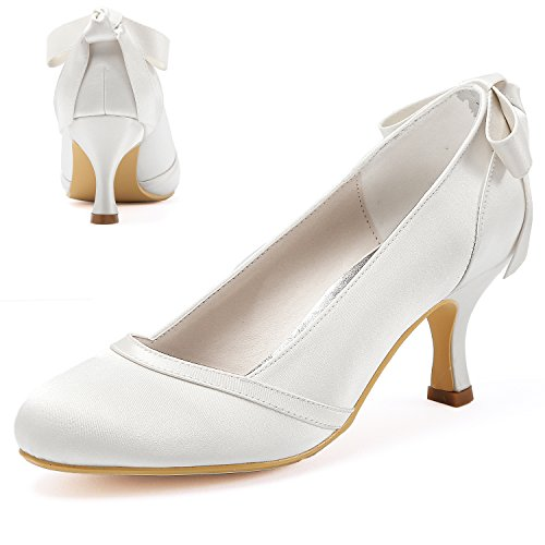 Elegantpark Bridal Shoes Women Wedding Shoes for Bride Mid Heel Bow Closed Toe Satin Wedding Court Shoes