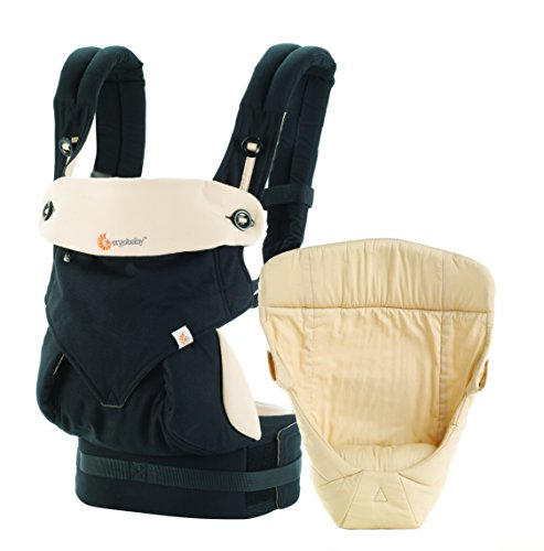 Ergobaby Mochila Portabebé Ergonómico Pack 360 con Cojín para Recién Nacidos, 4-Posiciones de Porteo, Negro/Camel