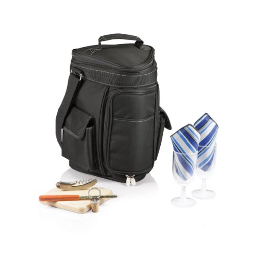 Legacy-A Picnic Time Brand Meritage Insulated Triangular Wine and Cheese Cooler Tote, Black