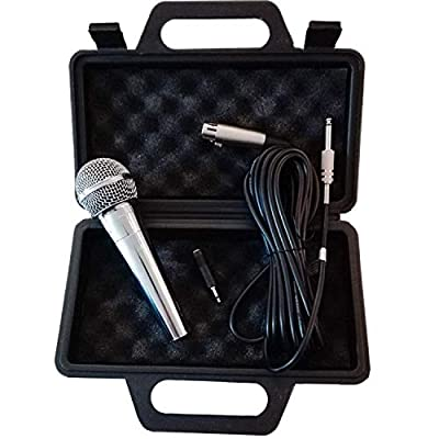 Eurosell- Premium Dynamic Microphone- Silver - Vocals & Stage + 5m Cable XRL Jack Mic Set Micro