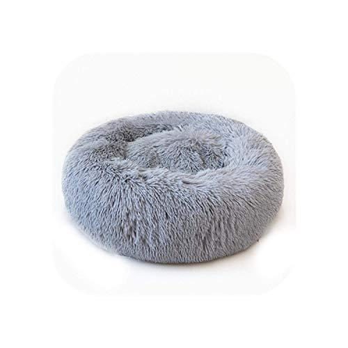 WCY Hunde Pad |Super Soft-Haustier-Bett-Winter-warmes Schlafbett for Hunde Zwinger Hund Runde Katze Langen Plüsch Puppy Kissen Mat Tragbare Katzenbedarf-Hellgrau-35Cm yqaae