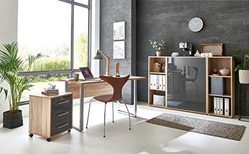 moebel-dich-auf.de Arbeitszimmer TABOR 2 in diversen Farbvarianten (Sonoma Eiche/anthrazit Hochglanz)