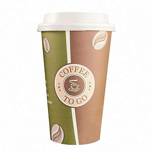 100 Stk. Kaffeebecher Premium Coffee to go mit Deckel weiß, Pappe beschichtet 400 ml
