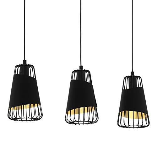 EGLO Suspension Austell, 3 ampoules suspension Industrial Vintage en acier et textile noir, or, lampe de salle à manger, lampe de salon suspendue avec douille E27