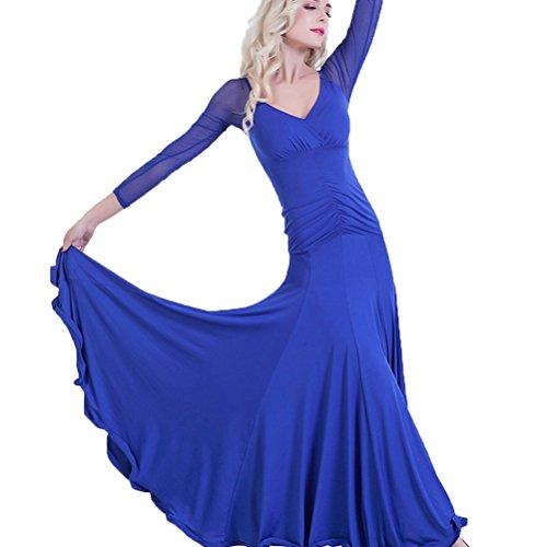 Damen Ballroom Tanz Performance Kleider Moderne Walzer Standard Ballsaal Praxis Kleidung Langarm, S
