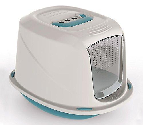 10586 Inodoro WC para gatos mod. GALAXY con puerta frontal 45x36x31,5 cm (filtro de carbón activo para evitar olores) (AZUL)