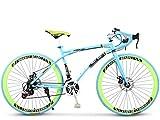ZTYD Strada Biciclette, 24 velocità 26 Bici Pollici, Doppio Disco Freno, Acciaio al Carbonio Telaio, Strada Biciclette da Corsa, per Uomo e Donna per Soli Adulti