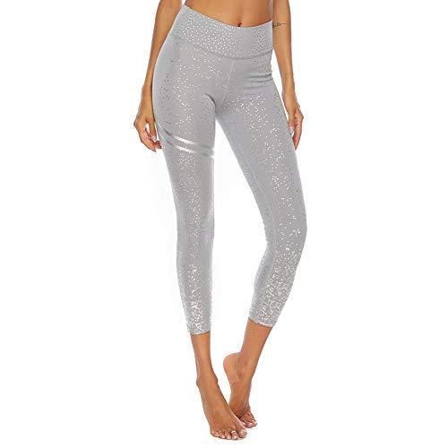 SotRong - Leggings push-up da donna a vita alta, effetto contenitivo della pancia, senza cuciture, con glitter, ideali per yoga Grigio M