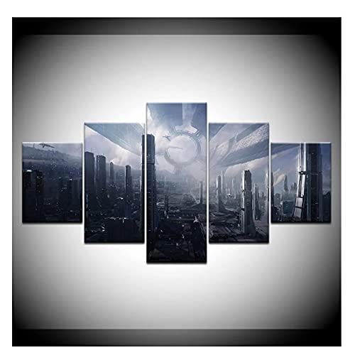 Bxygml Citadel Mass Effect Wallpapers Cartel Moderno Arte Lienzo Pintura para Sala de Estar decoración del hogar-40x60cm 40x80cm 40x100cm sin Marco