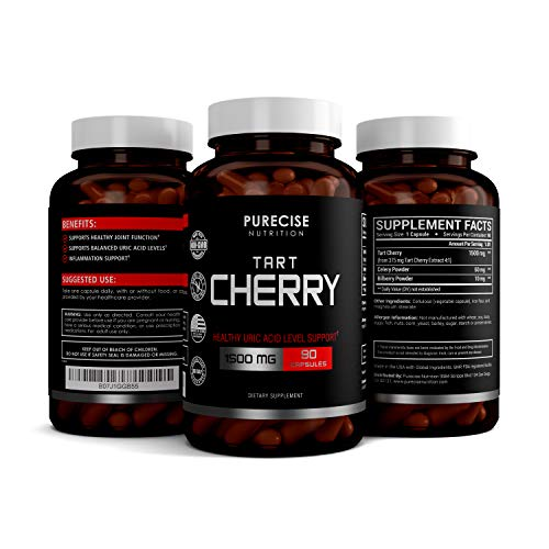 Purecise Nutrition Tart Cherry Extract Capsules with Bilberry and Celery Seed Extract - Supports Uric Acid Cleanse, Joint Pain, Healthy Sleep, Muscle Recovery and Anti Inflammatory -90 Veggie Capsules
