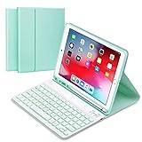 """Funda con Teclado Inglés para iPad 10.2"""" 8th Gen 2020/7th Gen 2019/ iPad Pro 10.5/iPad Air 3, Carcasa PU Delgada con 7 Colores Retroiluminados Teclado Bluetooth Inalámbrico Desmontable Magnético-Verde"""