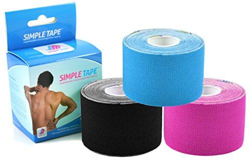 3x Sparpack Original SIMPLE MED PREMIUM Kinesiologie Tape Rolle BLAU-SCHWARZ-PINK - Physio tape für Sport, Medizin und Freizeit - 100% Baumwolle, optimierte Klebeformel. Rolle: 5m x 5cm