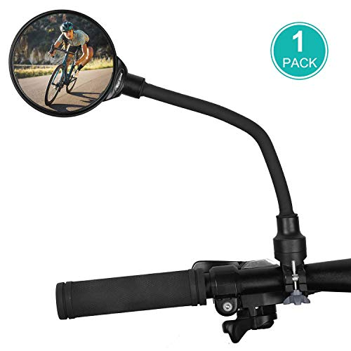 WESTGIRL Bike Mirror, 360°Rotatable Adjustable Wide Angle Cycling Rear View Mirror, Shockproof Convex HD Safe Mirror Universal for Mountain Road Bike, 1 PCS