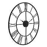 PHOTOLINI Wanduhr Schwarz Antik 60 cm Durchmesser Römische Ziffern ohne Tickgeräusche | Metall-Wanduhr Groß XXL