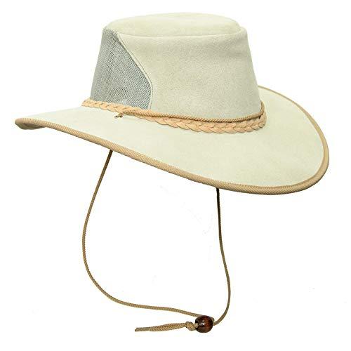 Sombrero de ante de piel con ala ancha y red en el bloque de sombrero, fabricado en Australia   Postes especiales   2 elección BoneTan. M