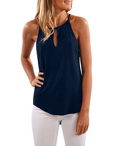 CNFIO Camisetas Tirantes Mujer Blusa Top Sin Mangas Cami Tank Tops De Casual para Mujer Azul-1 EU46