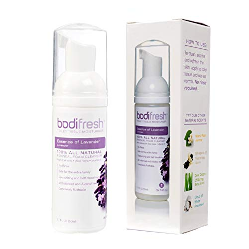 Bodifresh Toilet Paper Foam - Gently Removes What Dry Toilet Paper Leaves Behind - Toilet Paper Spray with Aloe Vera and Vitamin E - Makes Over 120 Flushable Wipes - Lavender - 1 Pack