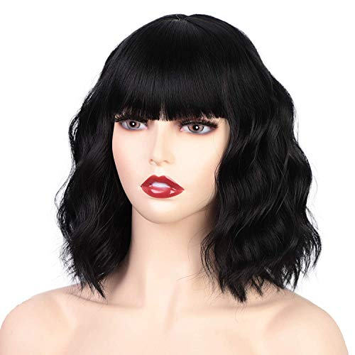 Isaic Black Wigs with Bangs for Women Synthetic Wavy Wig for Girl Natural Looking Wavy Wigs Heat Resistant Fiber