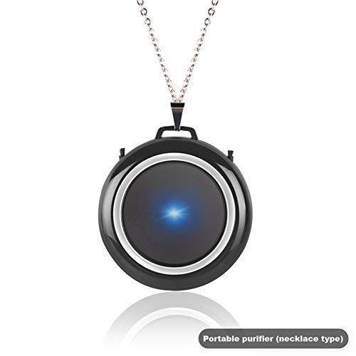 Qiumi Personal Wearable Air Purifier Necklace | Mini Portable Air Freshner Ionizer | Eliminating Germs, Dust, Viruses, Bacteria, Allergens, Mold, Odors (Black)