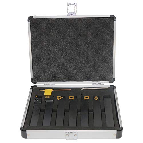 Indexable Lathe Turning Tool, 3/4'' Shank 7 Pieces Carbide Turning Tool Set,Metal Lathe Tools Holder with Portable Case,for Turning Grooving Threading with Tin Coated Carbide Inserts.