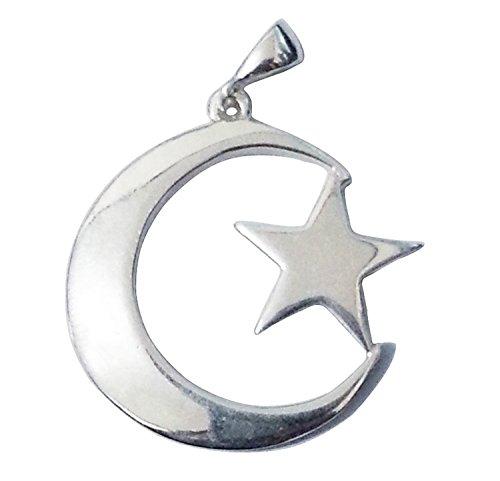 MuslimJewelry Grande Argento Sterling Islamico Simbolo Mezzaluna Luna e Stella Ciondolo per collane