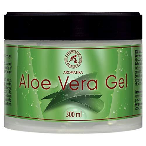 Aloe Vera Gel - 300ml - Natürliche Feuchtigkeitspflege für Gesicht Augenpartie Haare und Körper - Beruhigend - Kühlend - für Alle Hauttypen - Aloe Gel für Trockene Haut und Sonnenbrand