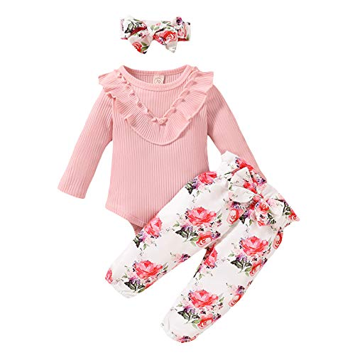 Baby Sweets 3er Baby Kleidung Set mit Strampler, Hose, Stirnband als Baby-Erstausstattung für Mädchen und Jungen, Neugeborene & Kleinkinder Strample (Pink, 3-6 Monate)