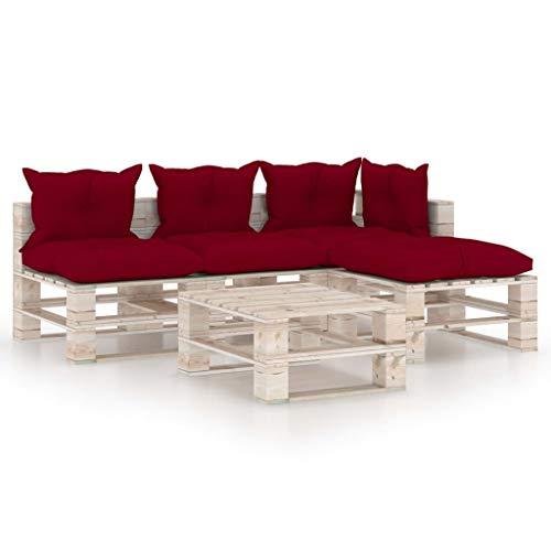 vidaXL - Paleta de 5 cojines de madera de pino, muebles de jardín, muebles de exterior, muebles de patio
