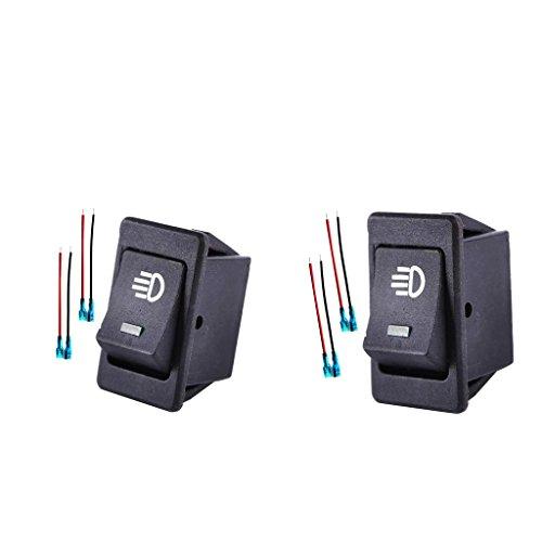 prasku Par de Interruptores de Palanca Basculantes de Luces Antiniebla de 35 a Y 12 V con LED Verde + Azul